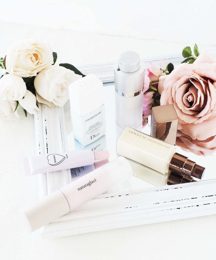 Dior、ルナソル、m.m.m.、フーミ―、ナチュラグラッセの化粧下地のご紹介。