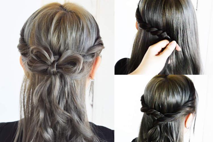意外と簡単な髪の毛で作るリボン ハーフアップにリボンをプラスして